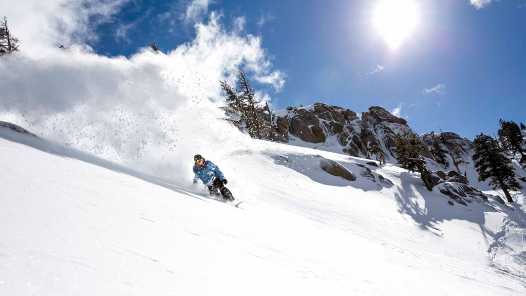 """A skier at Squaw Valley in March 2019, a """"miracle March"""""""