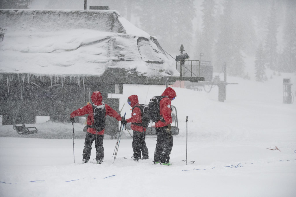 Ski Patrol at Alpine Meadows during a blizzard on January 28, 2021