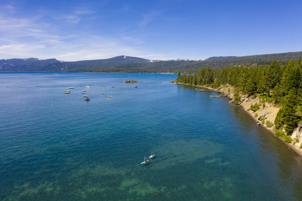 Lake Tahoe in the Summer from a bird's eye view