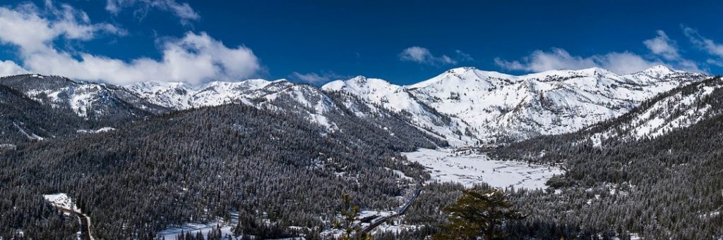Alpine Meadows and Squaw Valley wide view during winter