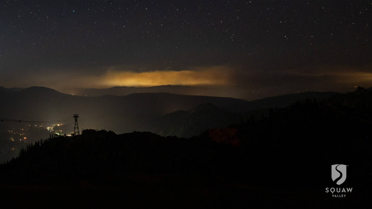 Smoke from the Caldor Fire seen from Squaw Valley at night