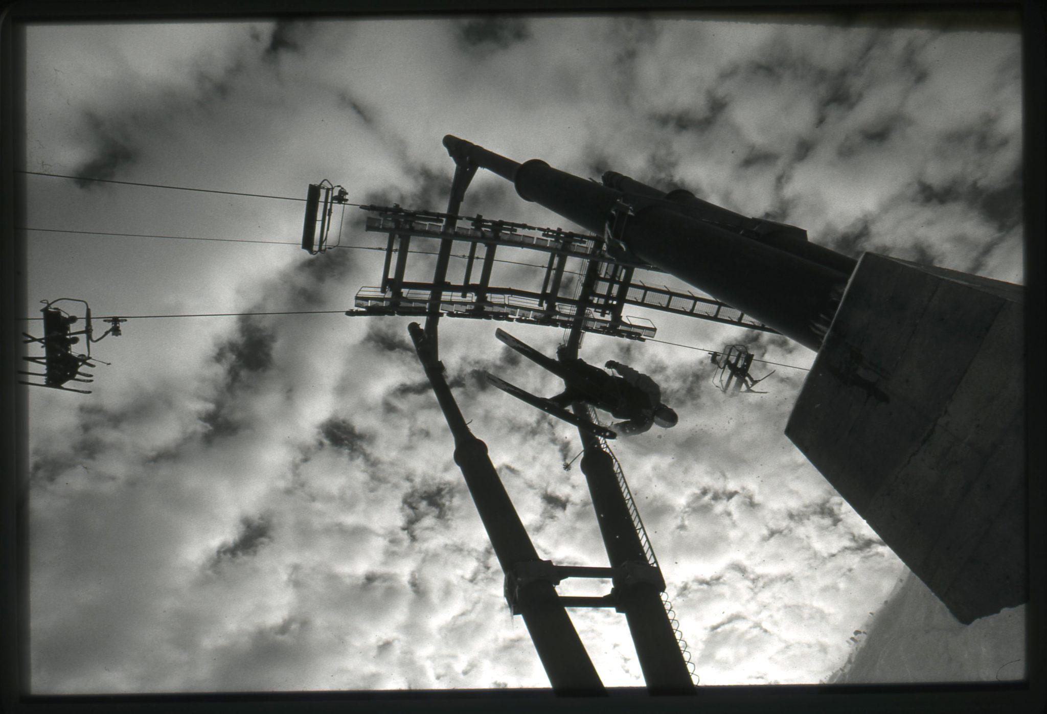 Shane McConkey airing off Siberia Chair tower footing, December 2003. Photo: Scott Gaffney